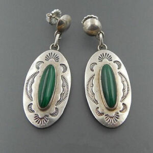 Vintage-Handmade-925-Silver-Green-Glass-Wedding-Dangle-Earrings-Jewelry