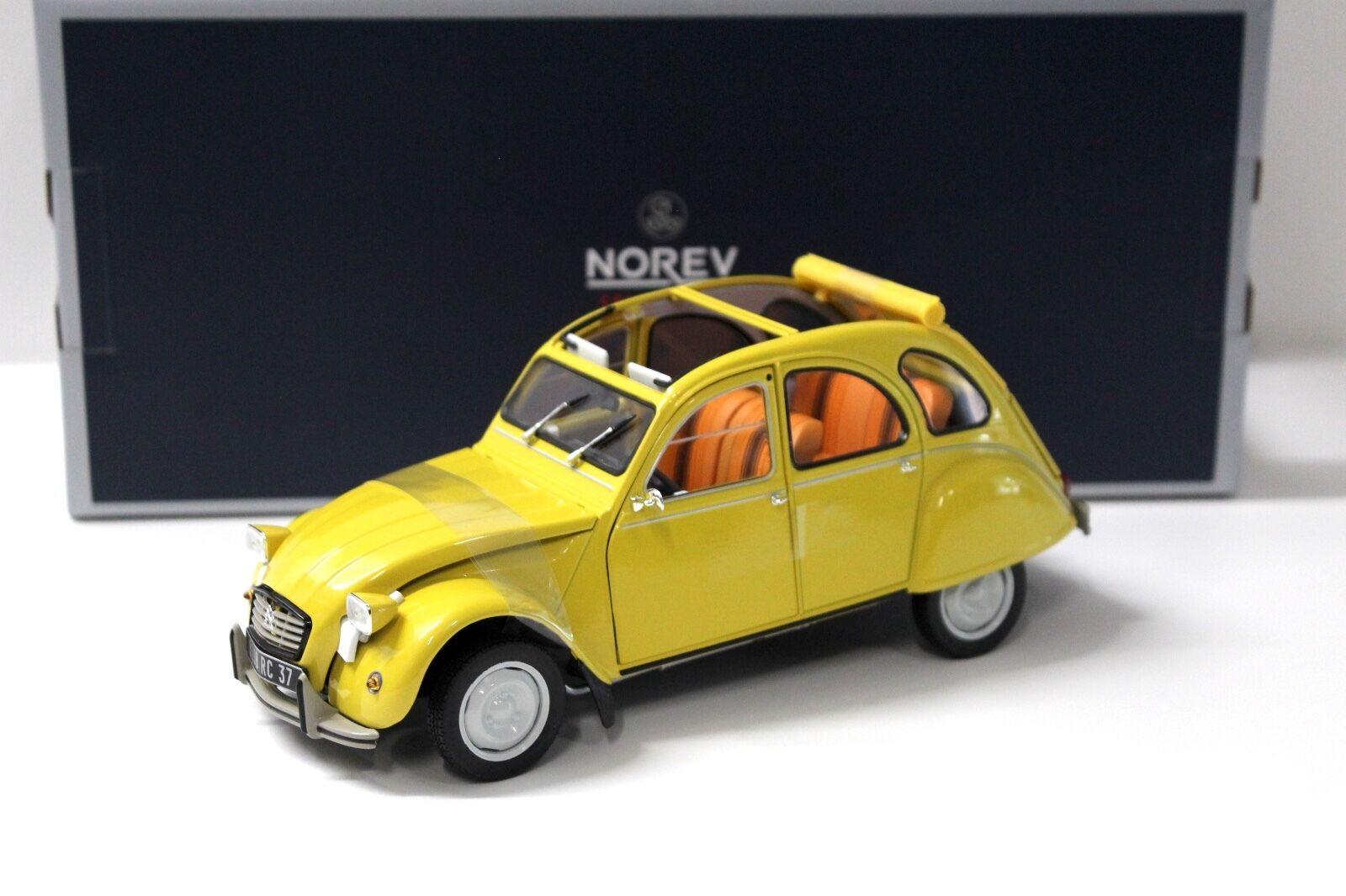 1 18 Norev Citroen 2cv 1979 Club Mimosa jaune New chez Premium-modelcars