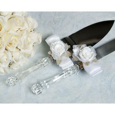 55102 Custom Engraving Available Rose Plush Satin and Organza Cake Server Set