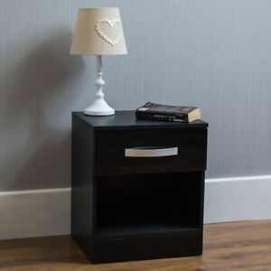 Image Is Loading Hulio High Gloss Bedside Cabinet Black 1 Drawer