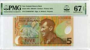 NEW ZEALAND 5 DOLLARS 2009 POLYMER P 185 b 15TH SUPERB GEM UNC PMG 67 EPQ