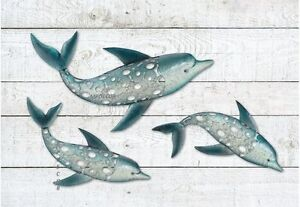 Details About Dolphin Fish Wall Art Metal Coastal Nautical Beach Indoor Outdoor Hanging Set 3