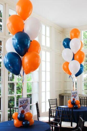 """12/"""" Bleu Orange Blanc Mélange Perle//Métallique Ballons Anniversaire Mariage Célébration"""