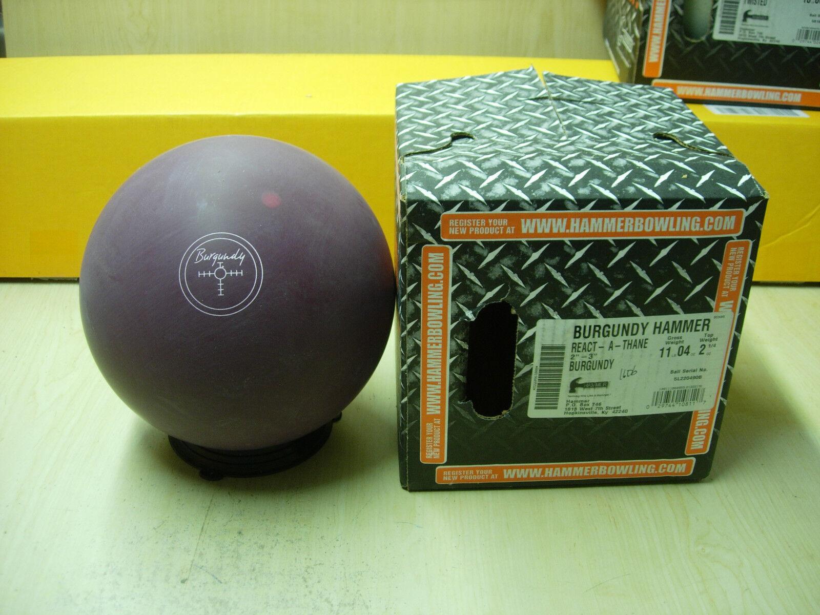 11oz, TW 2-1 4, P 2-3 NIB Hammer 2015 BURGUNDY REACT-A-THANE Bowling Ball