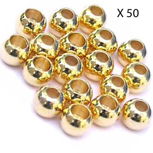 50 perles laiton couleur or pour mouche brass beads fly tying billes 2.4//2.8mm