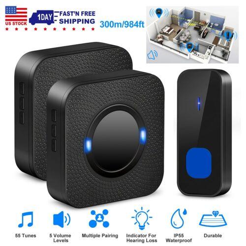 Wireless Doorbells Rings 984ft 55Chimes W//1 or 2 Receiver IP55 Waterproof