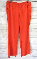 Roxy Oceanside Linen Beach Pants Size Large Orange Elastic Drawstring Waist