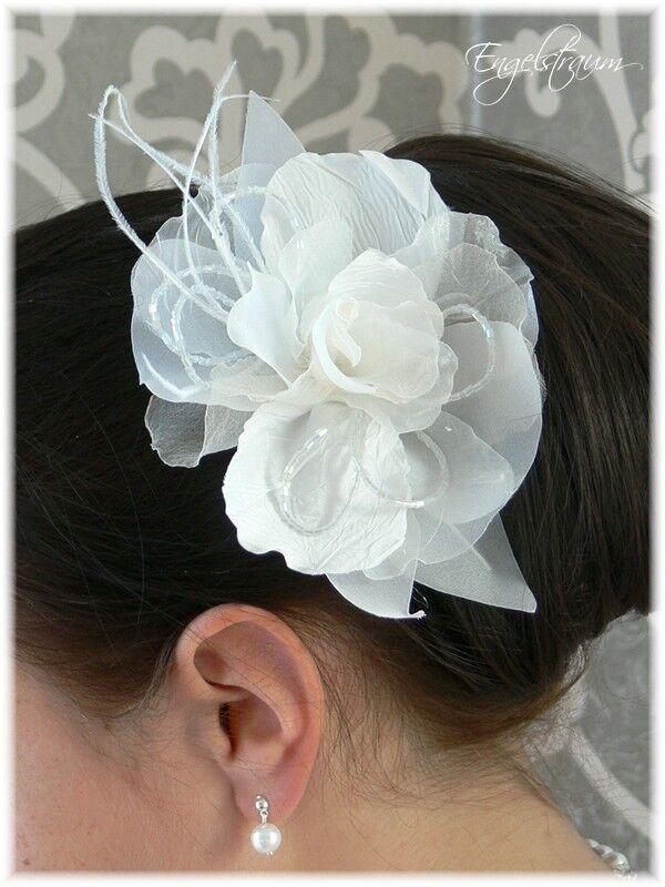 Angemessen (s118) Haargesteck Blume Perle Feder Haarschmuck Hochzeit Komunion Neu