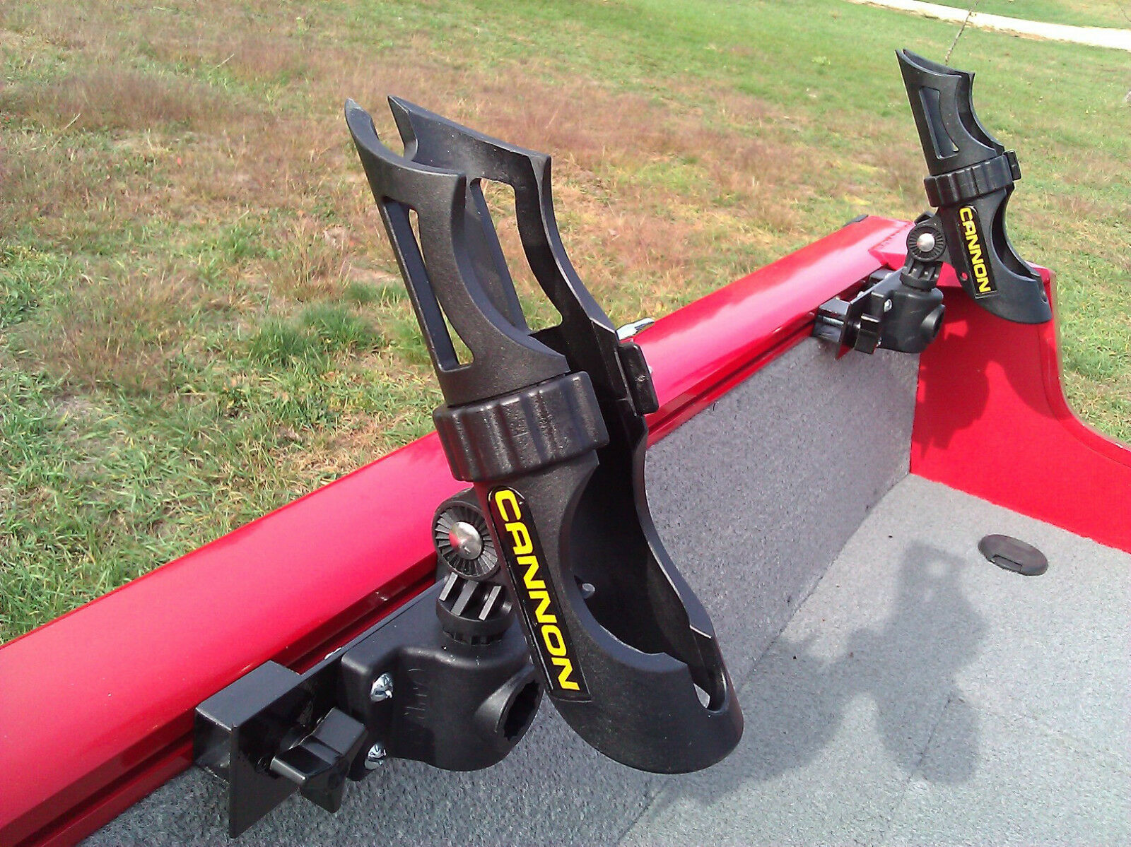 LUND BOAT SPORT TRAK ROD HOLDER - CANNON HOLDER INSTALLED - FREE SHIPPING
