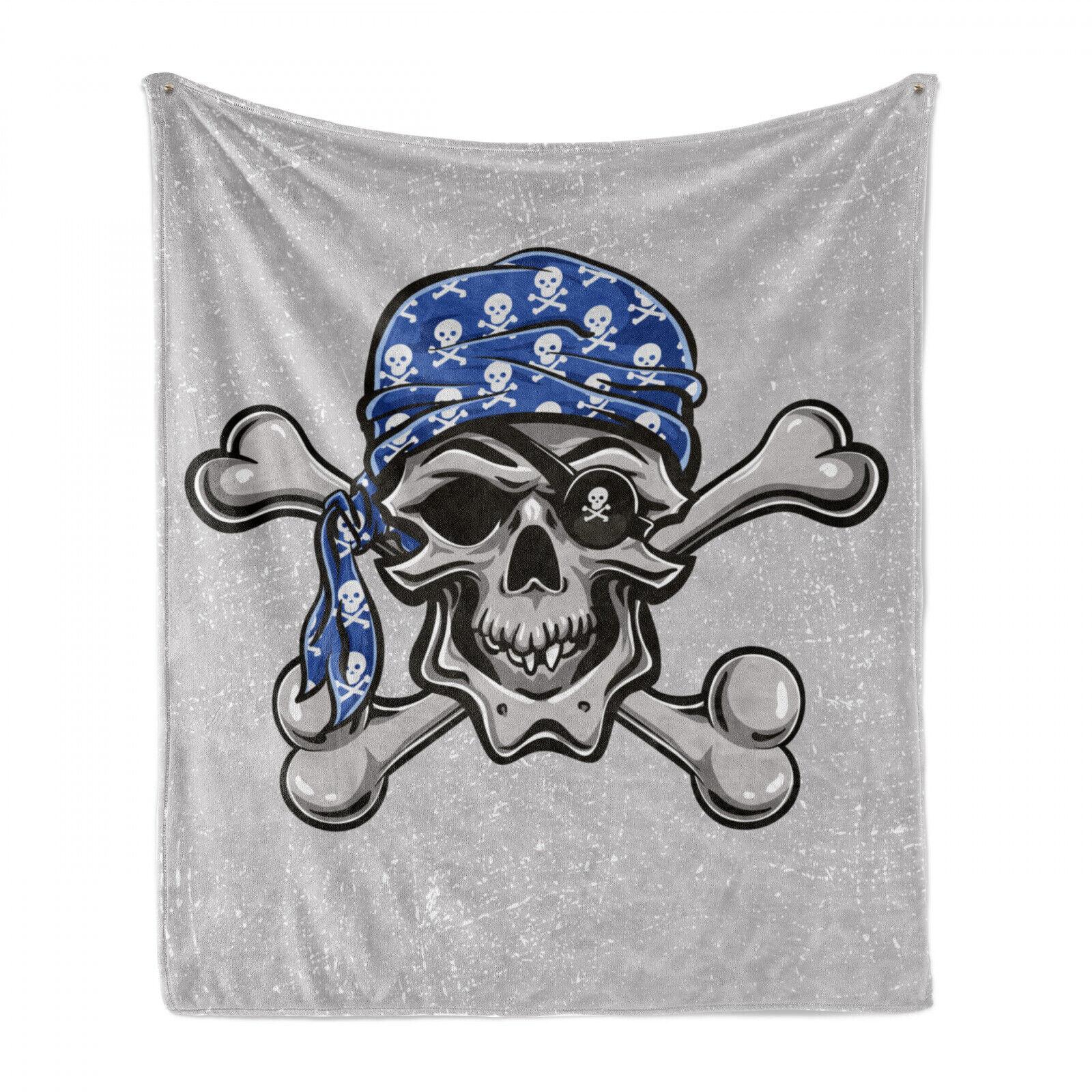 Skull Soft Flannel Fleece Blanket Pirate Bad Head Bone