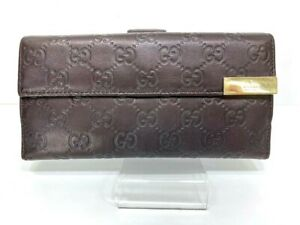 Auth-GUCCI-GG-Pattern-Brown-Leather-Long-Wallet-Purse-59114379