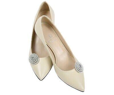 Love Shoes Scarpa Clip Matrimonio Scarpa Gioielli Perla Strass Party Accessorio Sposa-mostra Il Titolo Originale Originale Al 100%