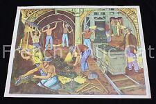 Rare affiche scolaire vintage 32 La Mine charbon Sur le Port bateau MDI 90,5*68