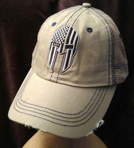 3bc0c6d2 Details about Green Line Spartan USA Flag Distressed Hat Low Profile Khaki  Hat Military line