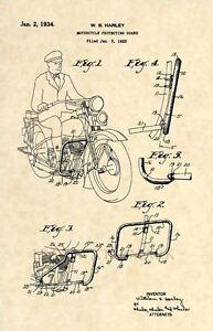 Official-1934-Harley-Davidson-US-Patent-Art-Print-Vintage-Antique-Original-216