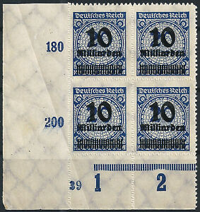 MiNr-335BP-OPD-Stuttgart-im-Viererblock-vom-Plattenunterrand-mit-PlNr-034-39-034