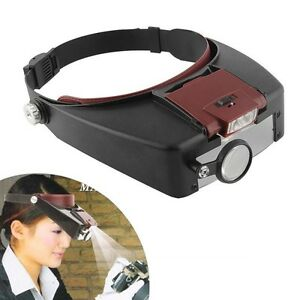Jewelers-Head-Headband-Magnifier-LED-Illuminated-Visor-Magnifying-Glasses-Loupe