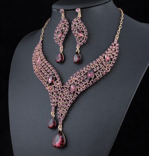 Teardrop Amethyst Austrian Rhinestones Crystal Necklace Earrings Set Prom N926