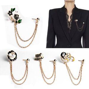 17ea44bd77635 Details about Men Women Crystal Chain Pin Lapel Suit Tie Brooch Costume  Wedding Accessories