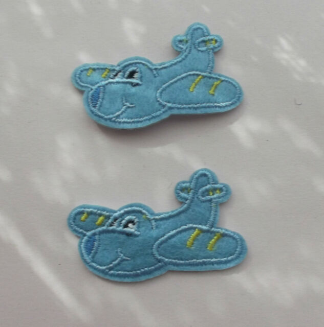 Blue Airplanes Iron/Sew on Patches x 2