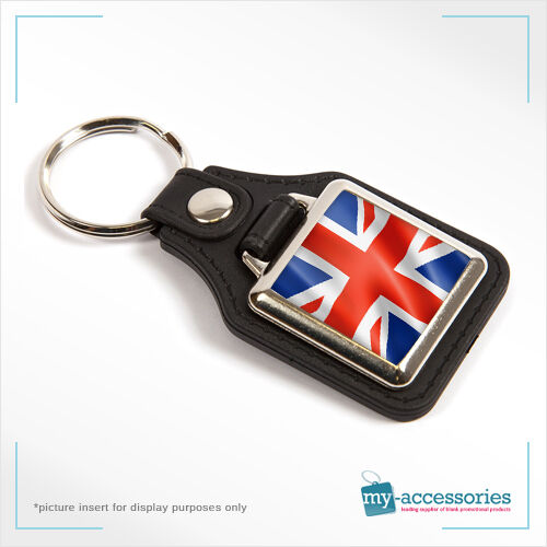 Blank Leather Keyring w//Silver Plated Medallion Printed Insert 25x25mm MD10