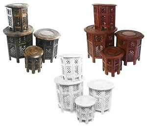 Beautiful-Round-Brown-White-Hand-Carved-Indian-Shesham-Wooden-Coffee-Table-Side
