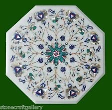 """12"""" Marble Coffee Table Top White Stone Inlay Handmade Work For Home Decor Gifts"""