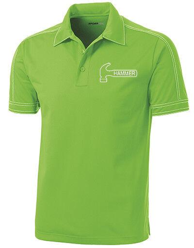 Hammer Men's Axe Performance Polo Bowling Shirt Dri-Fit Lime Green