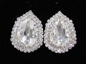 Image Is Loading Wedding Bridal Silver Clear Rhinestone Crystal Clip Earrings