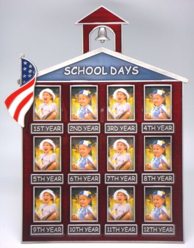 Holds 12-1¼×1-5//8 Photos Little Red School House w//American Flag Photo Frame