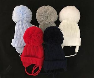 e9925907423 Gorgeous Baby Pom Hats with Ear Flap and Tie  Infant Pom Hats Big ...