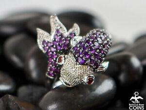 Sterling Silver  Round Amethyst, Garnet & 0.045 CTW Diamonds Koi Fish Ring