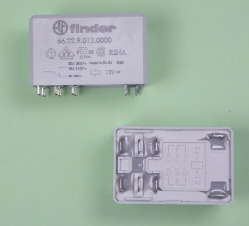 Finder Leistungsrelais Relais 12V DC 2 Wechsler 30A 66.22.9.012.0000