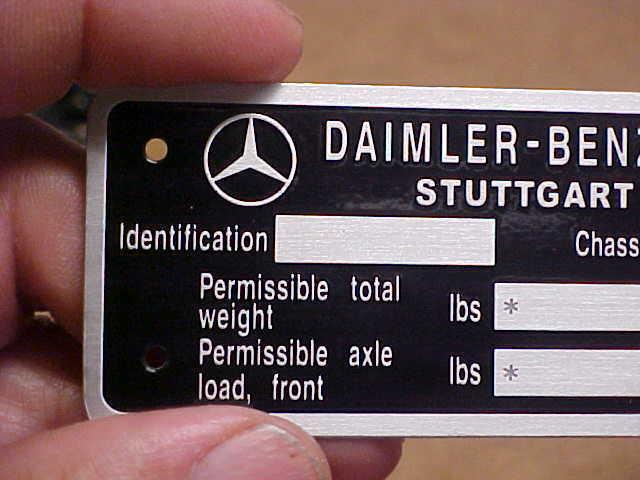 Daimler - Benz Mercedes Daten Daten Daten Platte Säure Geätzte Aluminium Stuttgart G. Built 9656cf