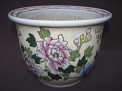 "10"" x 8"" Chinese Ceramic Multi Colored Peony Flower Pot Jardiniere Planter"