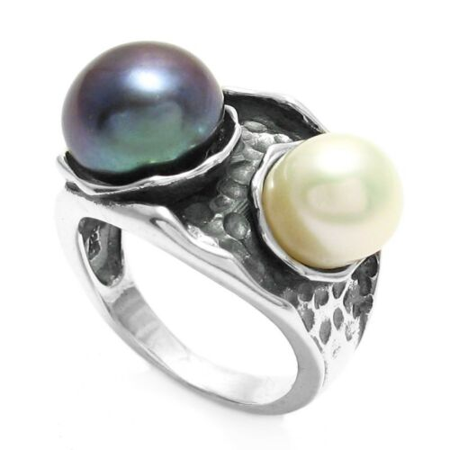925 Sterling Silver Black and White Pearl Hammered Ring Size 5-10