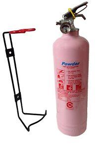 PINK 1 KG POWDER FIRE EXTINGUISHER HOME GARAGE WORK KITCHEN-FULLY CE ...