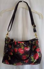 BETSEY JOHNSON Soft Satchel/Shoulder Bag BLACK FLORAL RED ROSES & SEQUIN