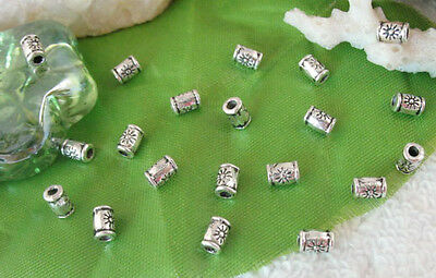 400pcs Tibetan silver floral tube spacer beads FC9237