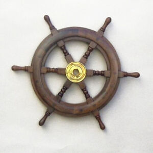 Image Is Loading Teak Ship 039 S Steering Wheel 15 034