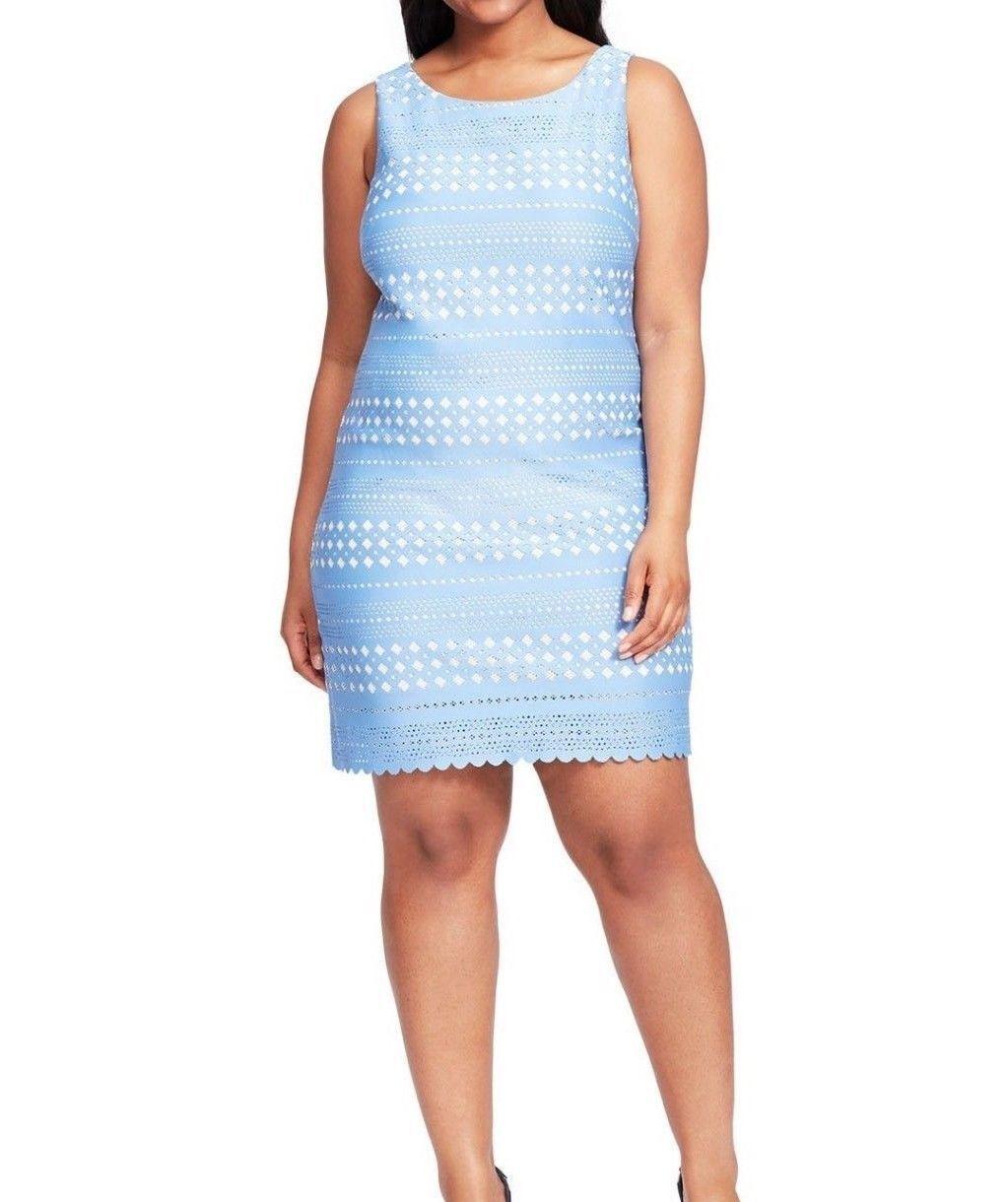 Eliza J Sleeveless Laser Laser Laser Cut Detail Periwinkle bluee Scuba Shift Dress Size 18 4cb350
