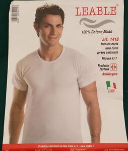 Leable-Uomo-Maglietta-Manica-Corta100-Cotone-Mako-039-Bianco-Blu-Nero-t-shirt