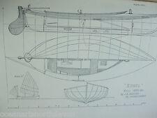 ANTIQUE PRINT C1895 DIXON KEMP SAILING YACHT & BOAT SAILING ETHEL BOAT PLAN