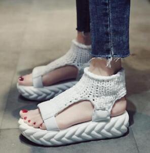Retro Ladies Roma Rose Platform Comfort Korean Wedge Heels Shoes OpenToe Sandal#