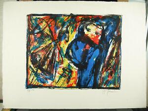 Print-Original-Signed-Artist-IN-Determine-c1980-Modern-Art-EA-X-X