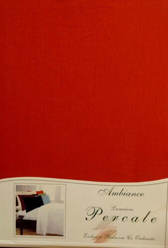King Size Sábana Oscuro Rojo Escarlata De Lujo Percal 180 Hilos Suave