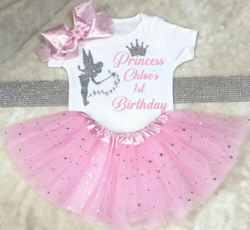 Fairy princess birthday baby outfits tutu bodysuit Headband Set Pink Girls Cute