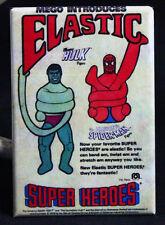 "Mego Elastic Super Heroes 2"" X 3"" Fridge / Locker Magnet. Spider-Man Hulk Toy Ad"