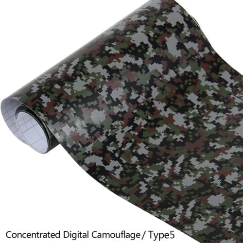PVC Film High Gloss Camouflage Car Wrap RollAdhesive Sticker Sheet 152x20cm New