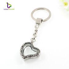 30mm Alloy Silver Glass Heart Shape Floating Charm Memory Locket Key Chain